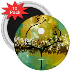 She Open s to the Moon 3  Magnets (10 pack)