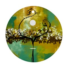 She Open s to the Moon Round Ornament (Two Sides)