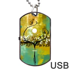 She Open s To The Moon Dog Tag Usb Flash (two Sides)