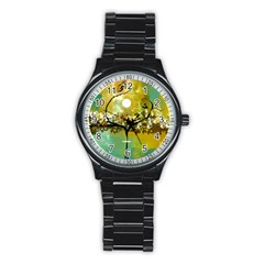 She Open s to the Moon Stainless Steel Round Watches