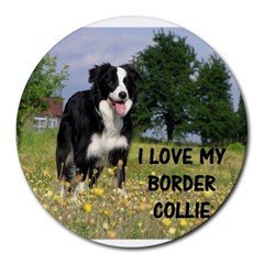 Border Collie Love W Picture Round Mousepads