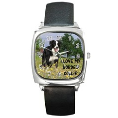 Border Collie Love W Picture Square Metal Watches