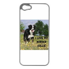 Border Collie Love W Picture Apple iPhone 5 Case (Silver)