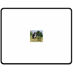 Border Collie Love W Picture Double Sided Fleece Blanket (Medium)