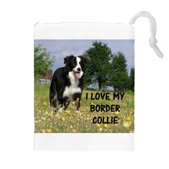Border Collie Love W Picture Drawstring Pouches (Extra Large)