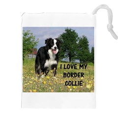 Border Collie Love W Picture Drawstring Pouches (XXL)