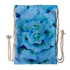 Blue Flower Drawstring Bag (large)