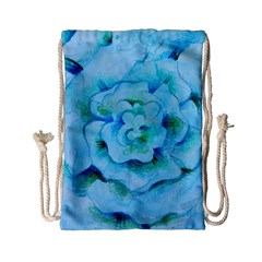 Blue Flower Drawstring Bag (Small)