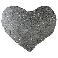 Water Drops 3 Large 19  Premium Flano Heart Shape Cushions