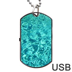 Turquoise Water Dog Tag Usb Flash (one Side)