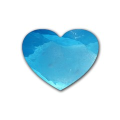 LIGHT TURQUOISE ICE Heart Coaster (4 pack)