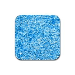 BLUE ICE CRYSTALS Rubber Coaster (Square)