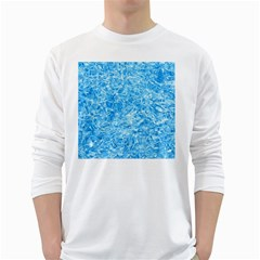 BLUE ICE CRYSTALS White Long Sleeve T-Shirts
