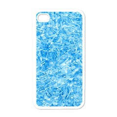 BLUE ICE CRYSTALS Apple iPhone 4 Case (White)