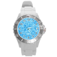 BLUE ICE CRYSTALS Round Plastic Sport Watch (L)