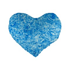 BLUE ICE CRYSTALS Standard 16  Premium Flano Heart Shape Cushions