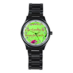 Garcia s Greetings Stainless Steel Round Watches