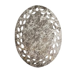 Weathered Grey Stone Oval Filigree Ornament (2 Side)