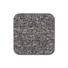 STONE WALL GREY Rubber Coaster (Square)