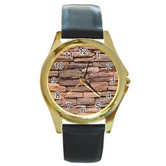 Stone Wall Brown Round Gold Metal Watches