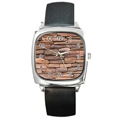 STONE WALL BROWN Square Metal Watches