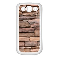 STONE WALL BROWN Samsung Galaxy S3 Back Case (White)