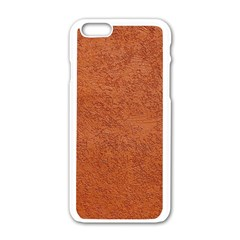RUST COLORED STUCCO Apple iPhone 6/6S White Enamel Case