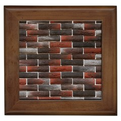 RED AND BLACK BRICK WALL Framed Tiles