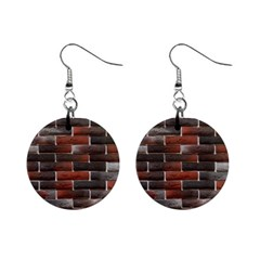 RED AND BLACK BRICK WALL Mini Button Earrings