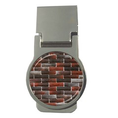 RED AND BLACK BRICK WALL Money Clips (Round)