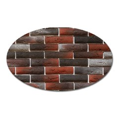 RED AND BLACK BRICK WALL Oval Magnet