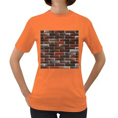 RED AND BLACK BRICK WALL Women s Dark T-Shirt