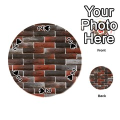 RED AND BLACK BRICK WALL Playing Cards 54 (Round)