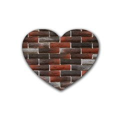 RED AND BLACK BRICK WALL Rubber Coaster (Heart)