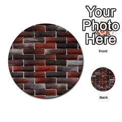 RED AND BLACK BRICK WALL Multi-purpose Cards (Round)
