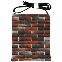 RED AND BLACK BRICK WALL Shoulder Sling Bags