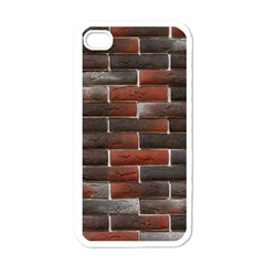 RED AND BLACK BRICK WALL Apple iPhone 4 Case (White)