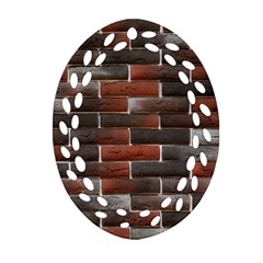 Red And Black Brick Wall Ornament (oval Filigree)