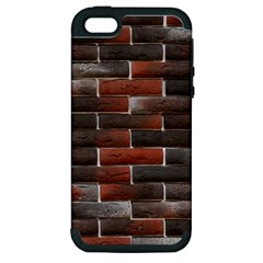 RED AND BLACK BRICK WALL Apple iPhone 5 Hardshell Case (PC+Silicone)