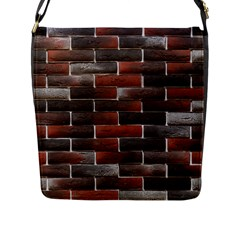 RED AND BLACK BRICK WALL Flap Messenger Bag (L)
