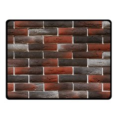 RED AND BLACK BRICK WALL Double Sided Fleece Blanket (Small)