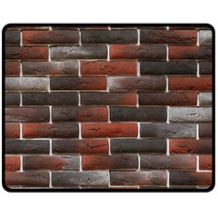 RED AND BLACK BRICK WALL Double Sided Fleece Blanket (Medium)