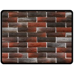 RED AND BLACK BRICK WALL Double Sided Fleece Blanket (Large)