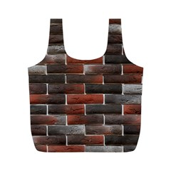 RED AND BLACK BRICK WALL Full Print Recycle Bags (M)