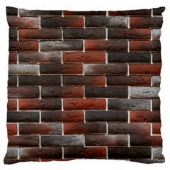 RED AND BLACK BRICK WALL Large Flano Cushion Cases (One Side)