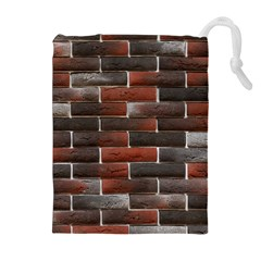 RED AND BLACK BRICK WALL Drawstring Pouches (Extra Large)