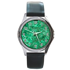 MARBLE GREEN Round Metal Watches
