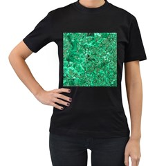 MARBLE GREEN Women s T-Shirt (Black) (Two Sided)