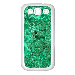MARBLE GREEN Samsung Galaxy S3 Back Case (White)