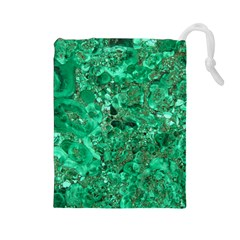 MARBLE GREEN Drawstring Pouches (Large)